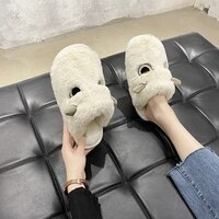 cute slip slippers home warm plush cat women shoes winter bedroom female flipflop flats indoor casual female 2021 comfortable