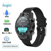 Rogbid 4G montre intelligente téléphone SIM GPS WIFI Smartwatch hommes 3GB 32GB IP68 étanche double HD caméra 8MP + 8MP visage ID pour Android