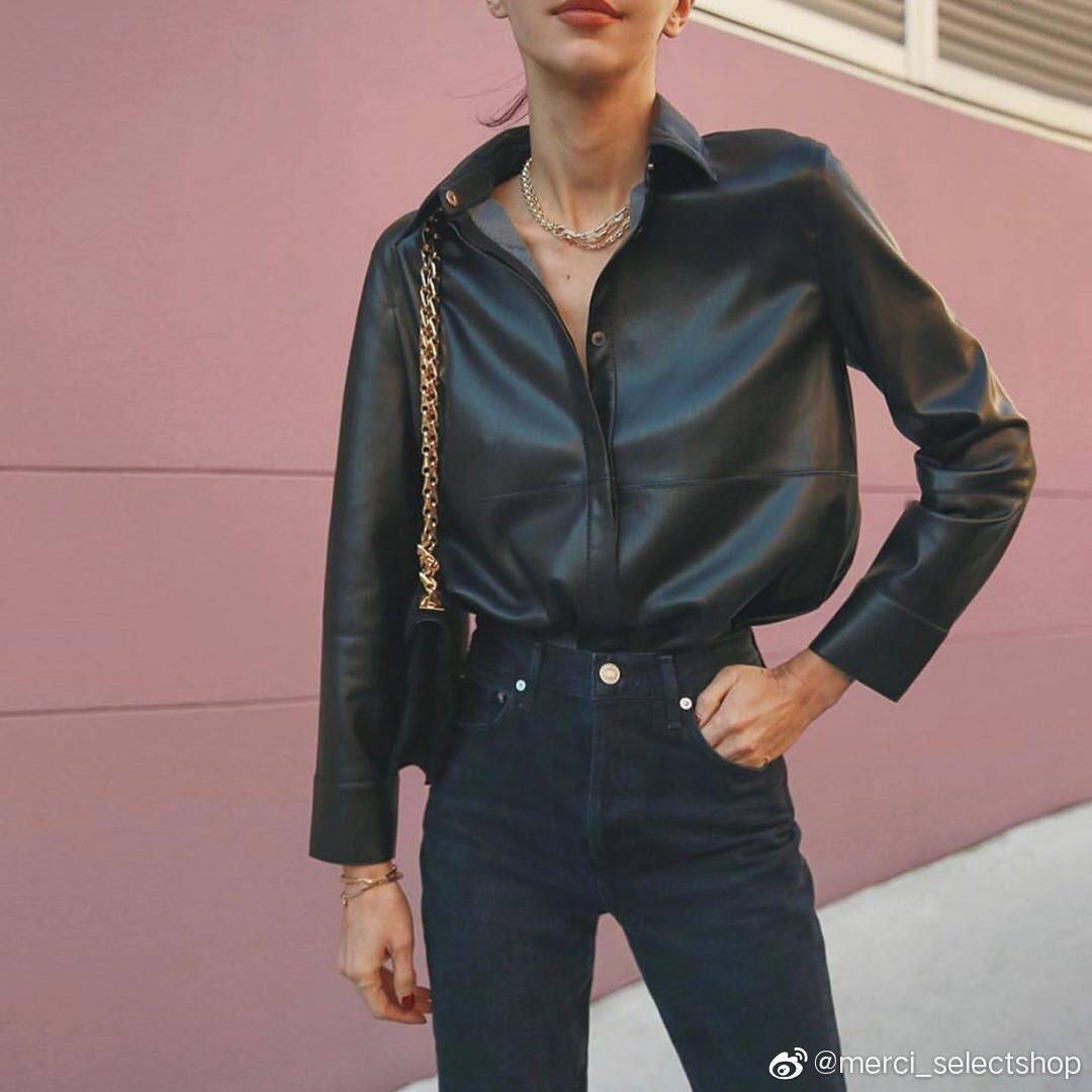 Nanu بروتين جلد قميص المرأة 21 أوائل الخريف المتخصصة الراقية وسيم معطف جلد معطف بلون سادة
