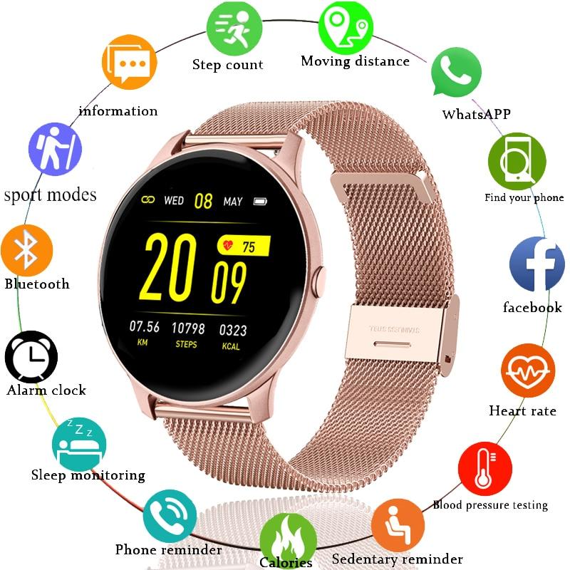 LIGE 2020 جديد ساعة ذكية النساء الرجال معدل ضربات القلب معلومات ضغط الدم تذكير الرياضة متعددة الوظائف مقاوم للماء Smartwatch + صندوق