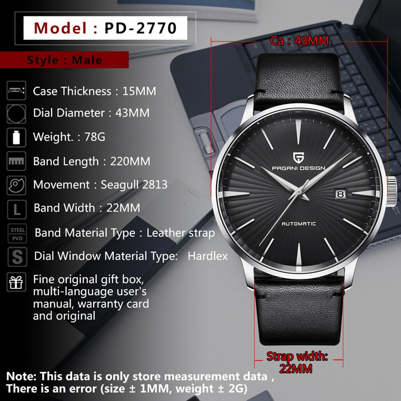PAGANI Fashion Mechanical Men Watch Waterproof classic Brand Luxury Automatic Business male wrist Watch sport relogio masculino enlarge