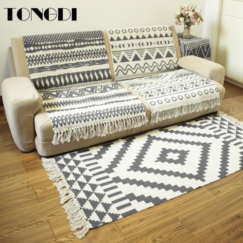 Alfombra Boho TONGDI de encaje geométrico antideslizante, elegante alfombra artística con borlas, suave alfombra, decoración de lujo para sofá, hogar, sala de estar, dormitorio