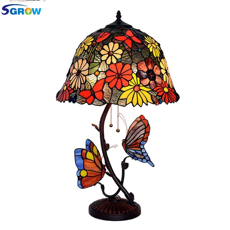 SGROW Tiffany lámpara de mariposa para mesa Retro luces para sala de...