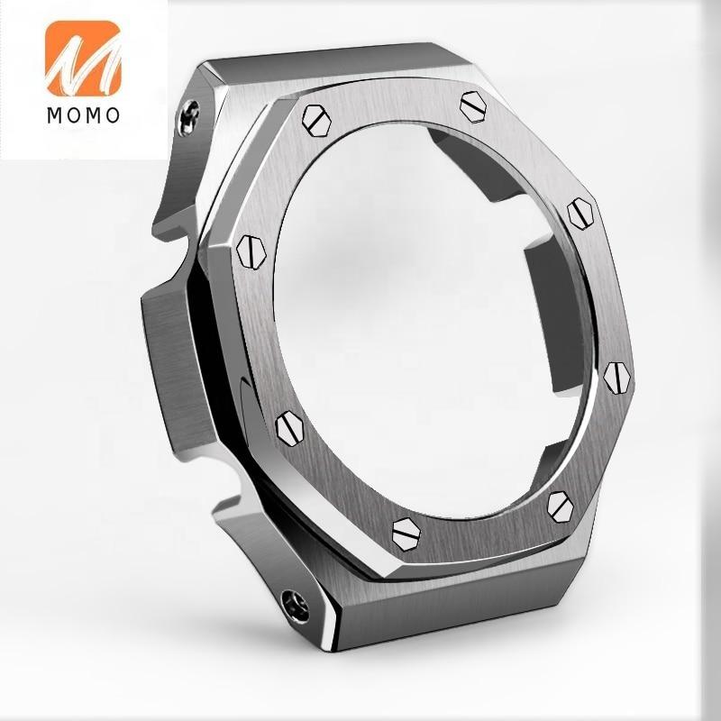 مناسبة ل مثمنة GA-2100 إسكان الساعة من الفولاذ المقاوم للصدأ حزام معدني الديكور AP ساعة اكسسوارات
