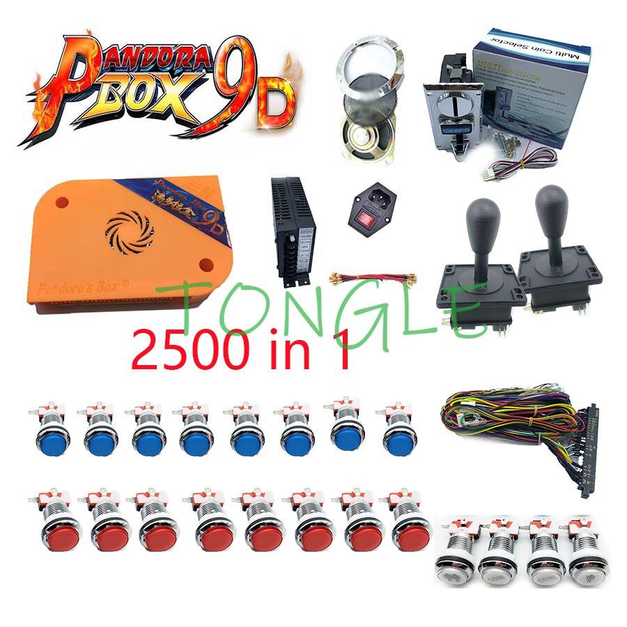 Caja pandora 2500 en 1, arcade 9d diy, joystick happ, potencia, aceptador, altavoz y Red, 5v LED buton, cable jamma, kit de caja pandora