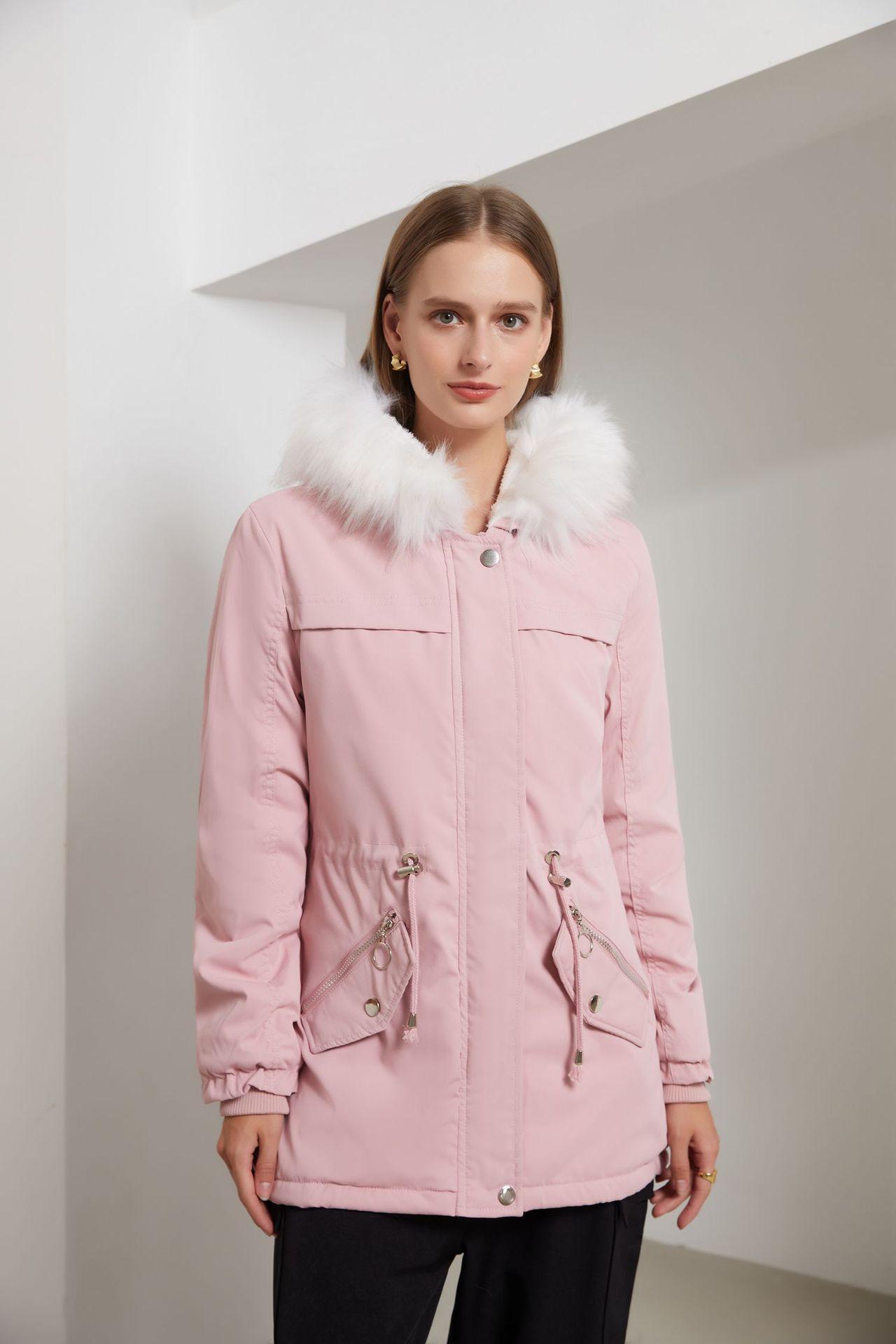 Женская куртка средней длины с хлопковой подкладкой, женская теплая свободная зимняя куртка с меховым воротником, куртка Паркера