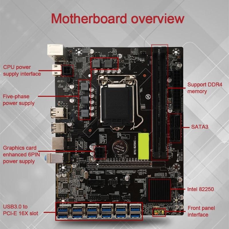 B250C-BTC Miner Motherboard LGA 1151 DDR4 Memory 12 xUSB 3.0 to PCI-E X1 Graphics Card Slot SATA3.0 For Eth Btc Miner enlarge