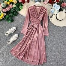 Vintage Gold Velvet Dress Women Autumn Winter Sexy V-neck Long Sleeve Dress Elegant bodycon Prom Par