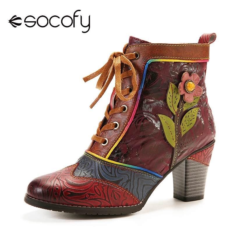 SOCOFY-حذاء نسائي بكعب عالٍ من الجلد الطبيعي ، أحذية جلدية أصلية منقوشة ريترو ، مزينة بالزهور الوردية ، أحذية أنيقة ، 2020