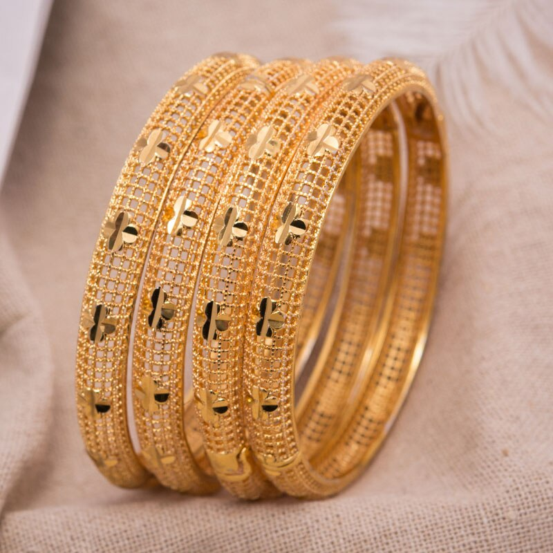 4 unids/lote, brazalete de mujer, joyería de oro de Dubai, brazaletes de Color dorado para brazaletes y pulseras etíopes, regalo de pulsera de joyería etíope