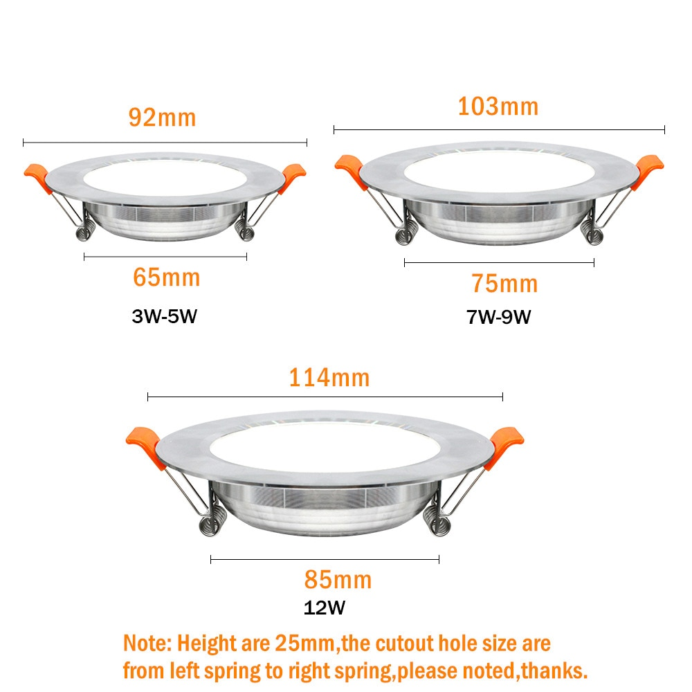 Купить с кэшбэком Silver White Led Downlight lights 12W 9W 7W spot led lights Warm White Natural White Ceiling Lamp Home Indoor recessed led down
