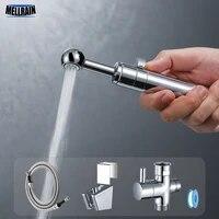 Kit de pulverisation de Bidet de toilette a main reglable  flux reglable Robinet de Bidet de salle de bains chrome  lavage par pulverisation a usages multiples
