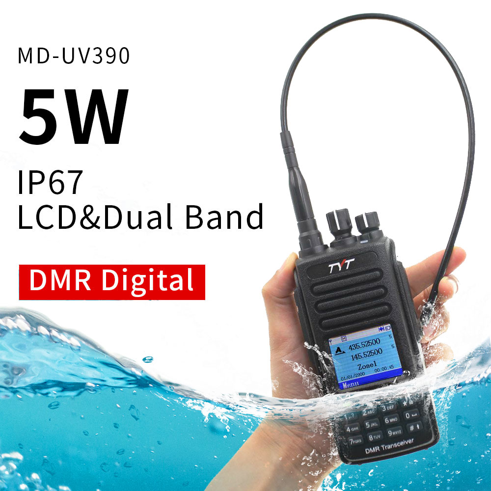 DMR Digital Walkie Talkie UV390 IP67 Waterproof Dual Band UV transceiver GPS Optional Upgrde of MD-390 + USB cable