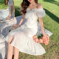 dressesfor women 2021 harajuku white embossed fishtail skirt cottagecore korean fashion summer simplicity fairycore dress elegan