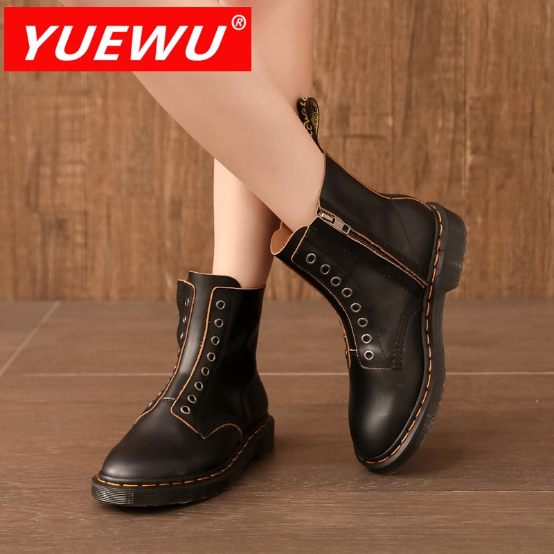 YUEWU New Arrivals Winter Women'S Martins Lace Up Casual High Cylinder Boots Short Plush Lining An