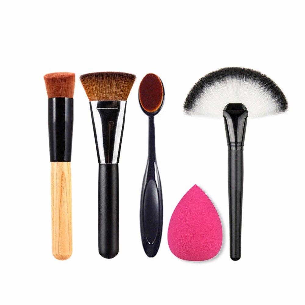 Juego de maquillaje, brocha para base y polvos, esponja para contorno, cepillo de cosméticos de belleza, útil de maquillaje