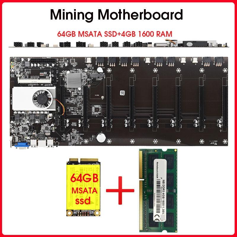 Riserless mining motherboard 8 GPU Bitcoin Crypto Etherum Mining  with 64GB MSATA SSD  DDR3 4GB 1600MHZ RAM SET