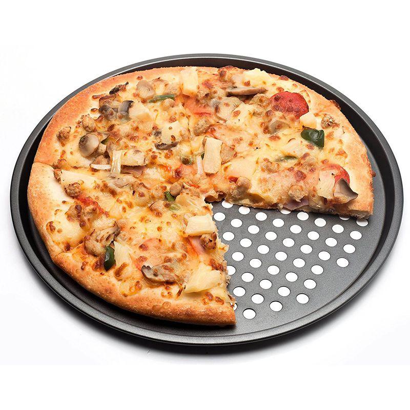 Práctico bandeja para hornear pizzas antiadherente de acero al carbono bandeja de 32cm plato para Pizza soporte para platos utensilios para hornear horno doméstico para cocina accesorios de herramientas