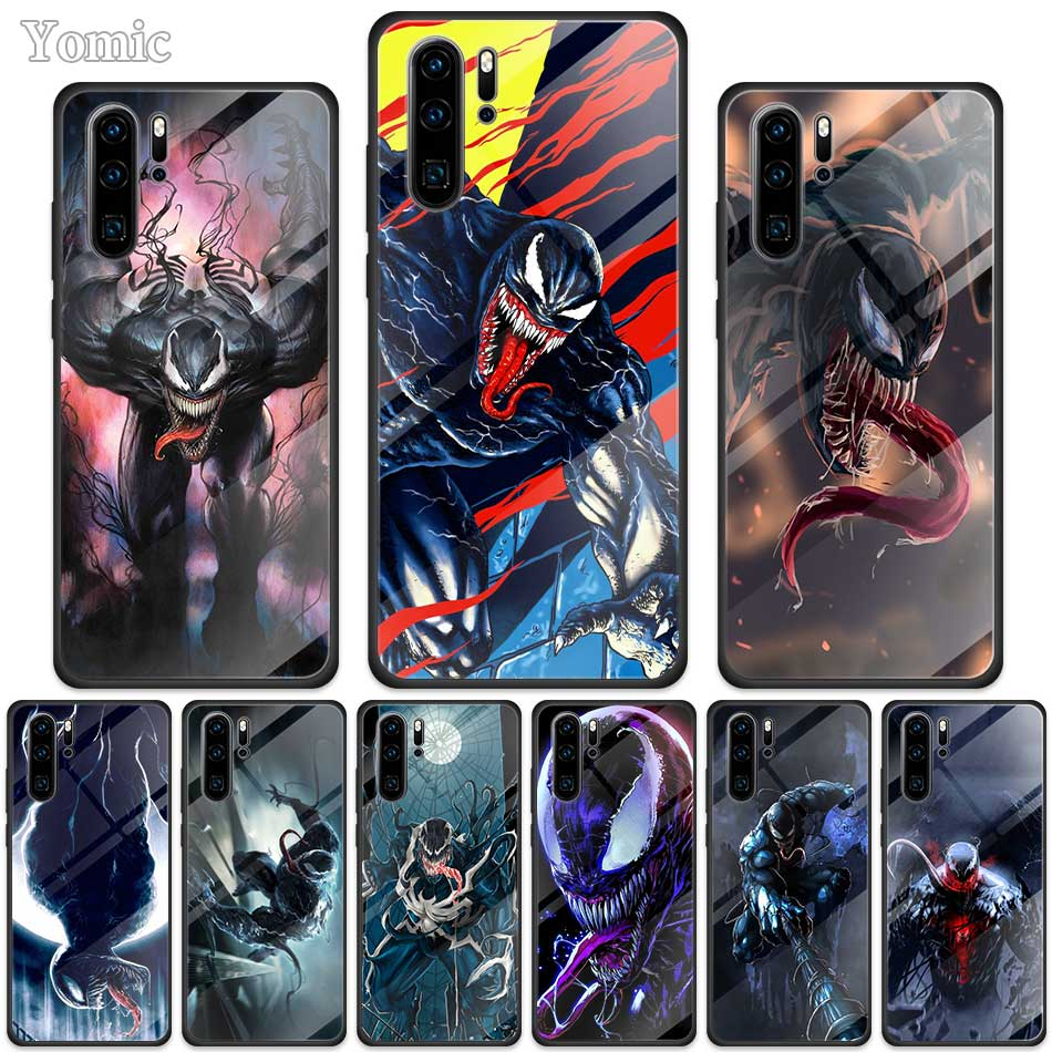 Funda Marvel Venom Super Hero para Huawei P30 P20 Mate 10 20 30 Lite Honor 20 9X negro borde suave funda para teléfono de vidrio templado