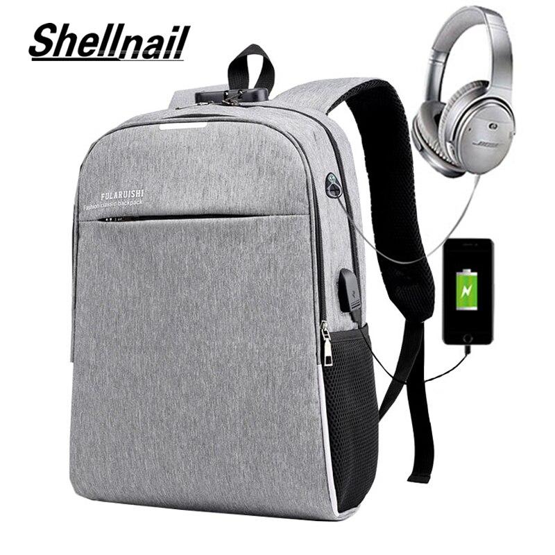 Shellnail الرجال حقيبة الظهر 2021 موضة جديدة محمول دفتر Mochila مقاوم للماء الظهر حزمة حقيبة الظهر حقيبة المدرسة رمادي