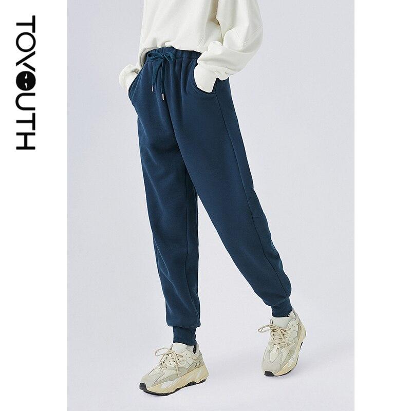 Toyouth Frauen Solide Jogginghose Schwarz Blau Hohe Taille Hosen Damen Sport Grundlegende Elastische Taille Hose