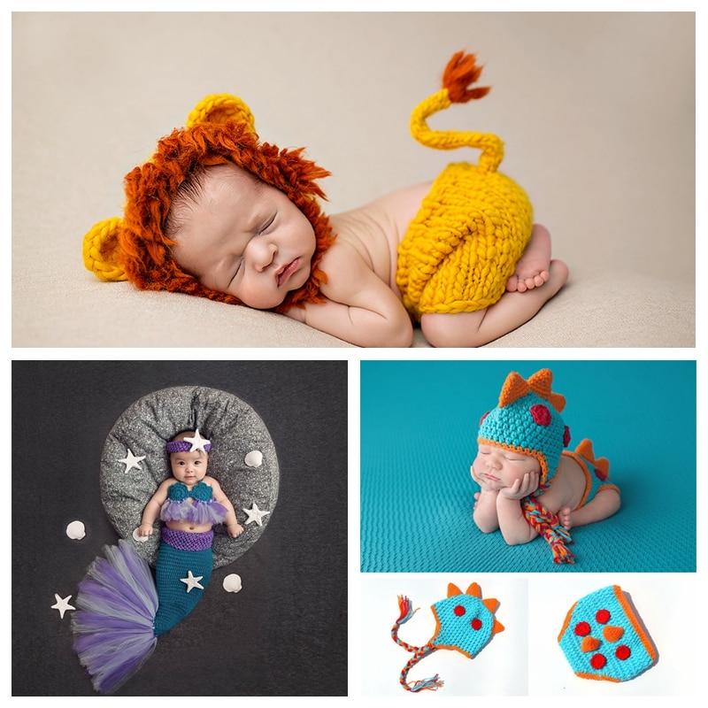 Neue Tier Serie Neugeborenen Set Neugeborenen Fotografie Kleidung Requisiten Gestrickte Baby Foto Lion King Mermaid Little Dinosaurier
