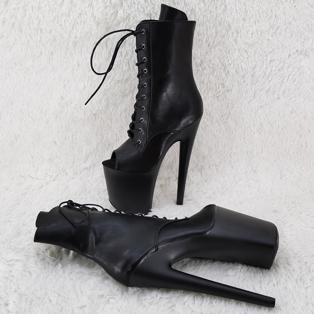 Leecabe 20CM/8Inch lady ankle boots fish mouth  High Heels platform Pole Dance boot