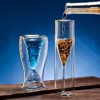 100150ml double layer mermaid cocktail glass high borosilicate glass creative wine glass home restaurant bar champagne glass
