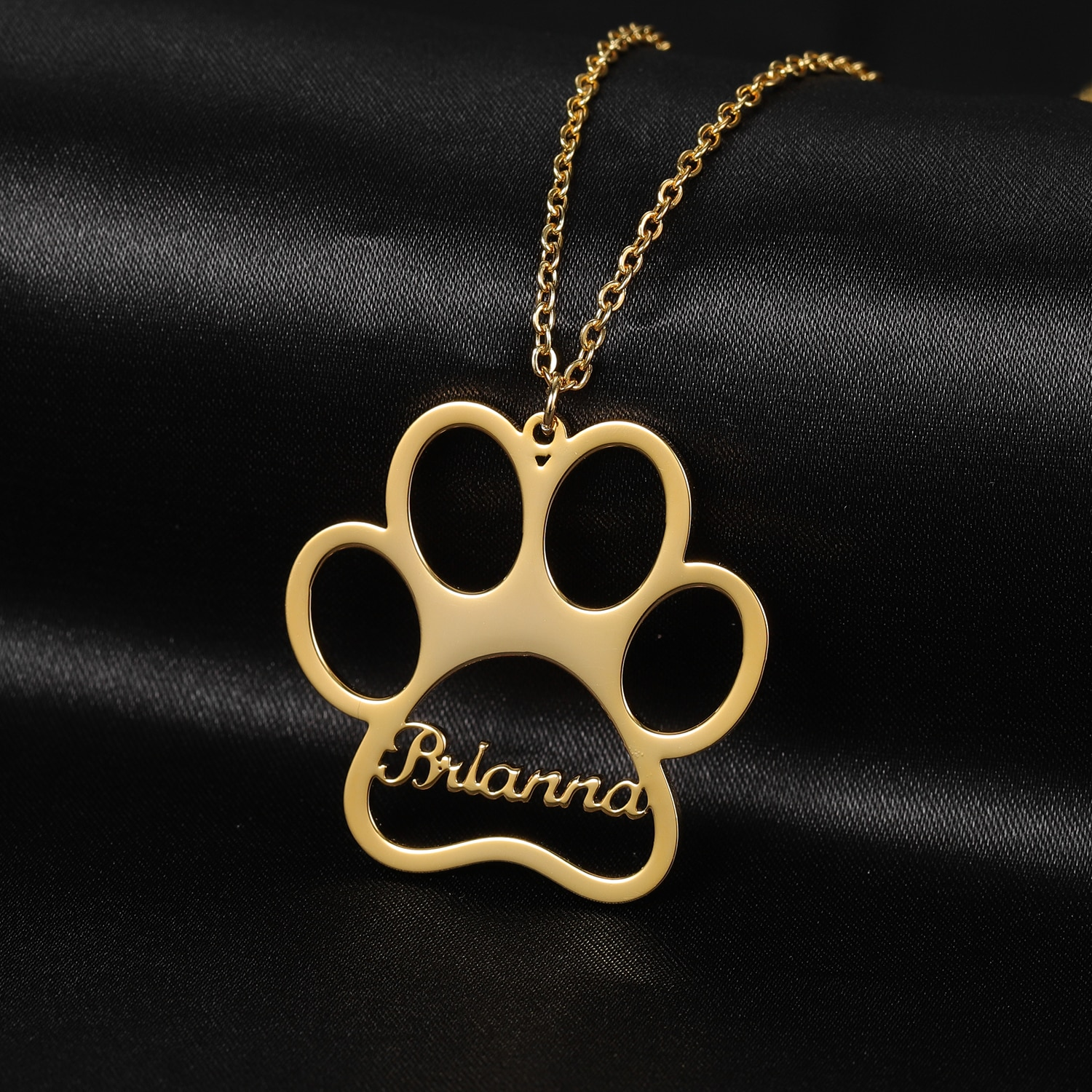 316l stainless steel animal paw charm necklace gold silver tone hollow out lovely cat dog print paw pendant long chain necklace Personalized Name Necklace Dog Paw Necklace Paw Print Initial Bone Pet Charm Personalized Dog Necklace Jewelry Gift