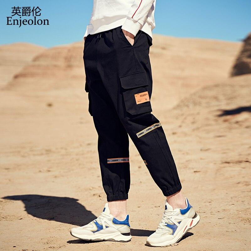 Enjeolon 2020 nuevos pantalones Cargo para hombres, pantalones para correr casuales, pantalones de hip-hop con varios bolsillos, ropa de calle de talla grande K6875