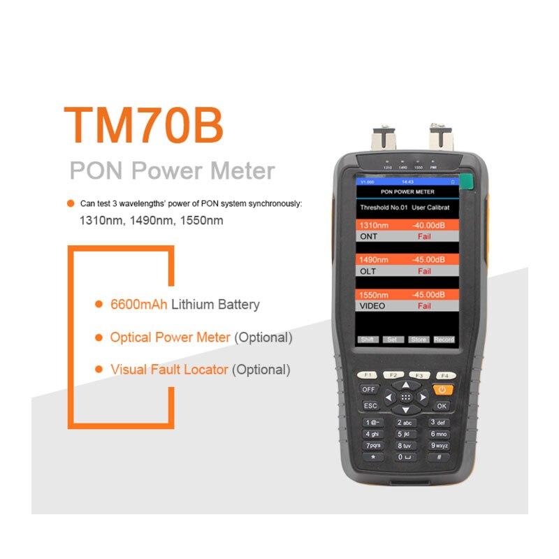 Handheld xdsl tester TM70B pon power meter 1310/1490/1550nm Wavelengths for EPON GPON xPON OLT-ONU kit ftth fiber optic tool kit