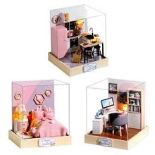 Miniature maison de poupée Kit de meubles avec LED jouets bricolage maison de poupée en bois maisons de poupée pour enfants cadeau de noël jouets éducatifs