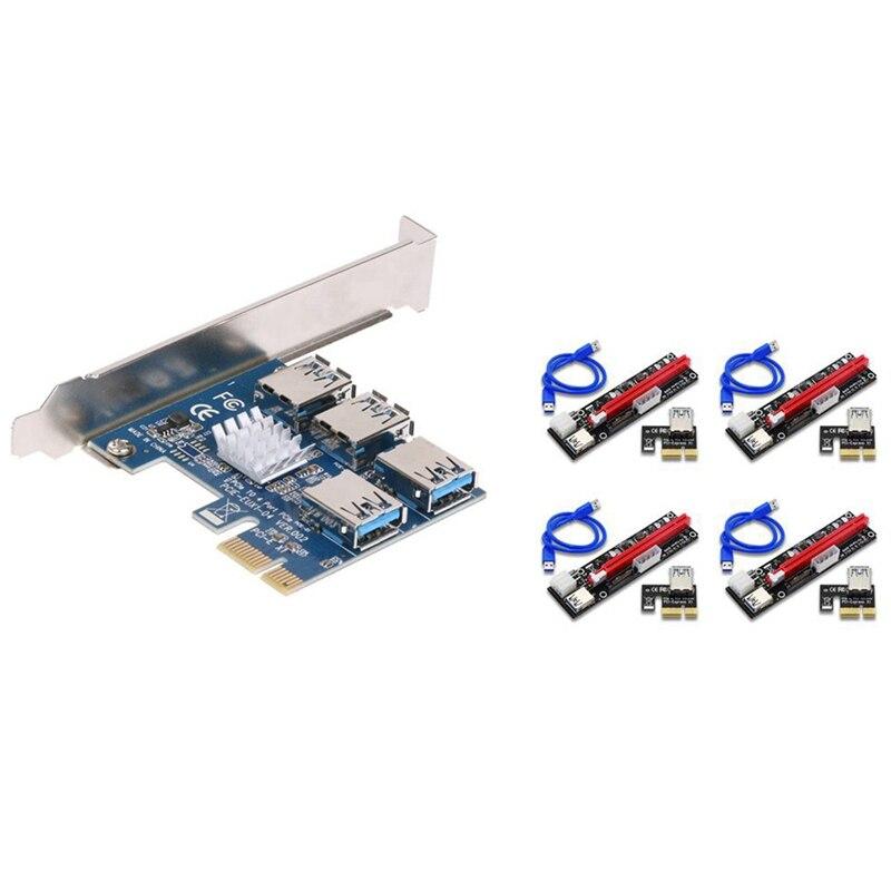 1X إلى 16X صورة تمديد Ethereum ETH التعدين بالطاقة الناهض محول بطاقة 60 سنتيمتر USB 3.0 كابل 4 ميناء نقل محول