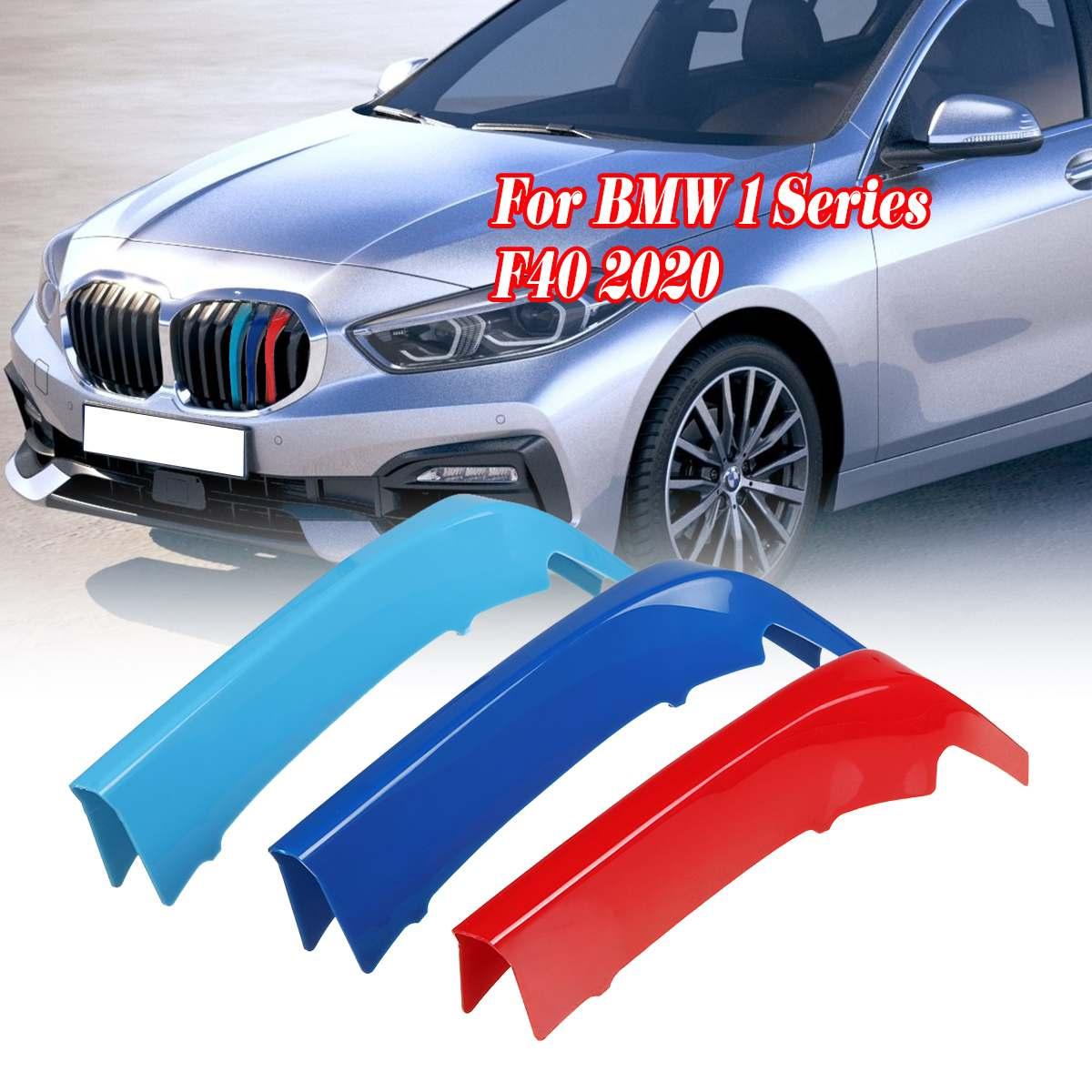 3 uds Car 3D M Styling embellecedor de rejilla delantera parachoques cubierta tira tiras pegatinas cubierta para BMW 1 serie F40 2020