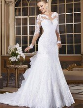 Sheer Neck Illusion Vestidos De Novia 2020 레이스 아플리케 긴 소매 인어 웨딩 드레스 브라질 Mariage 웨딩 드레스