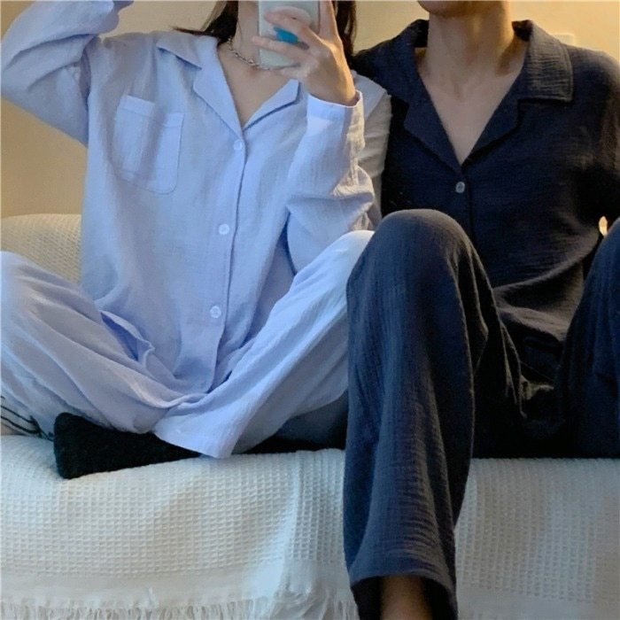 Autumn/winter Korean Style Outer Wear Homewear Couple Pajamas Set Women's Long Sleeve Top and Trouse