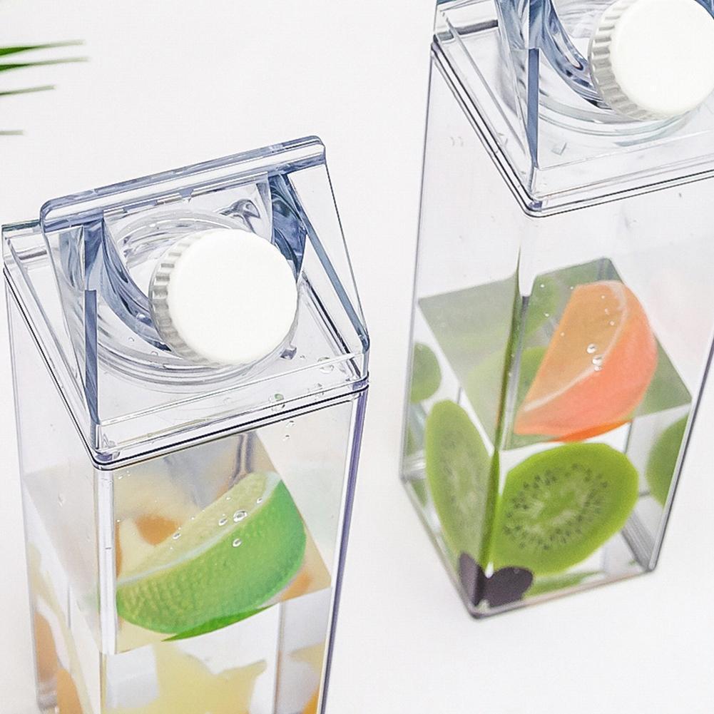 500ML Water-Bottle Drinkware Shaker Sports Square Milk Reusable Water Bottles Bpa Jug Transparent Fr