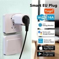 16a smart wifi plug eu socket power monitor timer socket smartlife tuya control wall plugs works with alexa google assistant