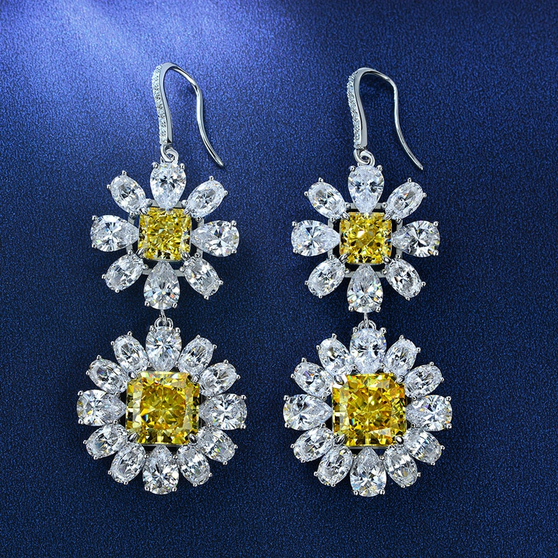 OEVAS 100% 925 Sterling Silver 10*10mm Aquamarine Orange Yellow High Carbon Diamond Drop Earrings For Women Party FIne Jewelry