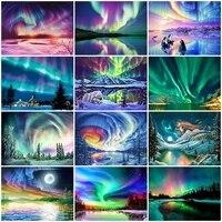 5D BRICOLAGE Diamant Peinture Aurora Plein Carre Diamant Broderie Mosaique Paysage Peinture Kits de Point De Croix Decor A La Maison Artisanat Cadeau