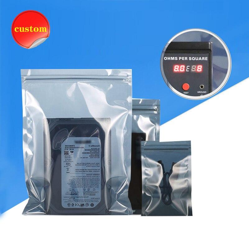 مكافحة ساكنة التدريع سستة حقيبة ESD اللوازم الإلكترونية زيبلوك البلاستيك التعبئة والتغليف IC لوحة دوائر كهربائية رقاقة حماية الملحقات