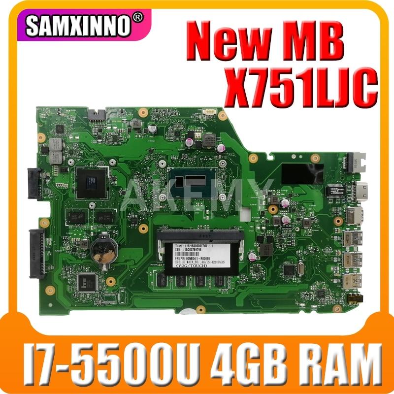Akemy X751LJ placa madre REV 2,3 Para For Asus R752LA R752LD X751LN X751LD X751LJ A751L placa base de computadora portátil I7-5500U 4GB RAM GT920M