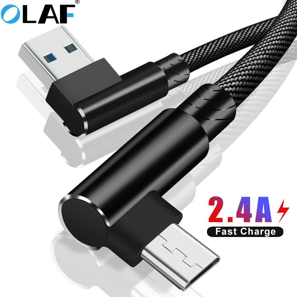 Cable de carga rápida OLAF 2,4 a 1M 2M 90 grados, Cable Micro USB para Samsung S6 S7 para Xiaomi Redmi 4X Note 4 5, Cable de carga USB
