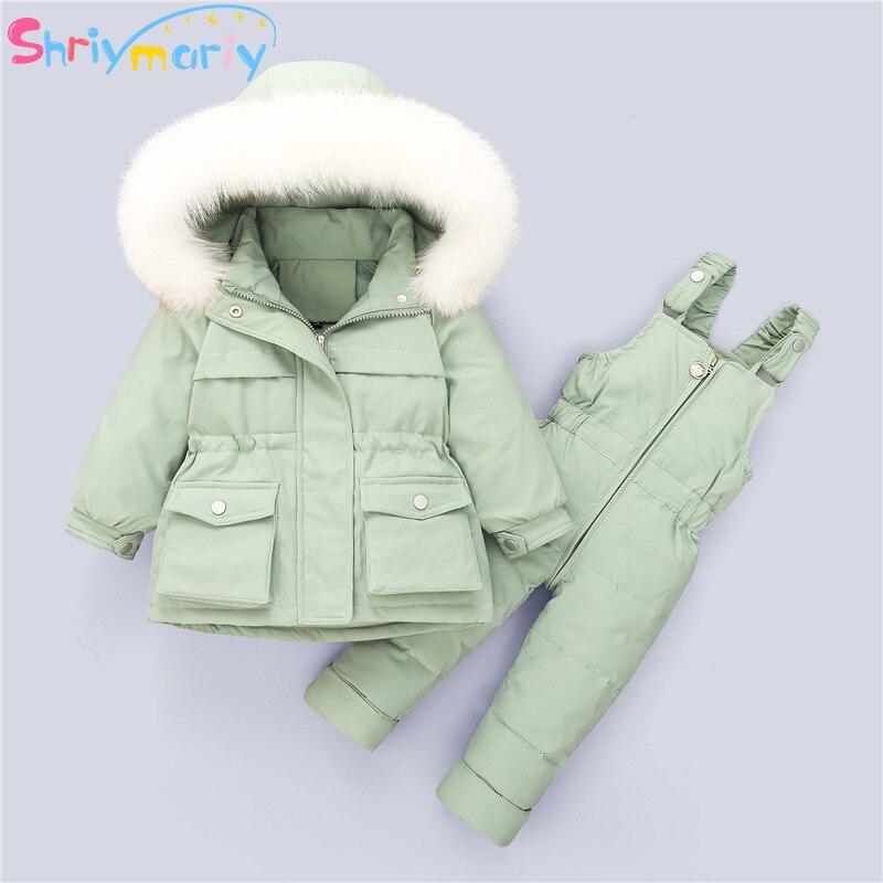 Детская парка с мехом и капюшоном, Детский комбинезон для мальчиков и девочек, зимний пуховик, теплое пальто, штаны, детский комбинезон, одежда для девочек