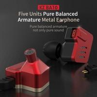 KZ BA10 Headset Balanced Armature Driver 5BA HIFI Bass Earbuds In Ear Monitor Earphone Sport Noise Cancelling Metal AS10 ZST