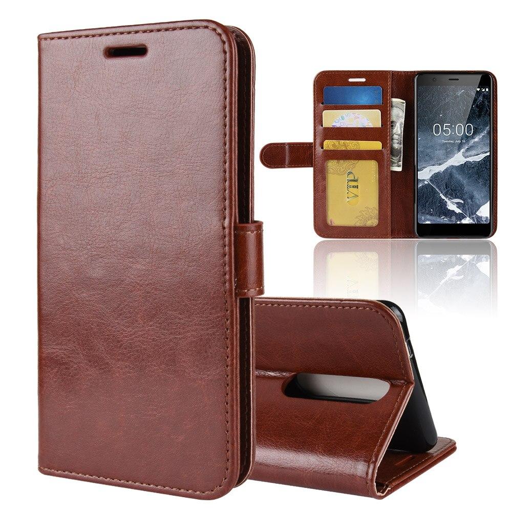 Funda de cuero tipo billetera para Nokia 5 2018 Funda de cuero de alta calidad con tapa para Nokia 5,1 ranura de teléfono caso