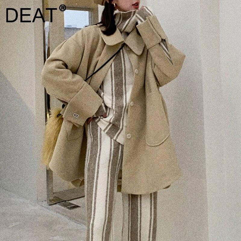 Женская куртка с воротником-стойкой DEAT, светильник-желтая Свободная куртка с длинным рукавом, с наполнителем и карманами, на осень и зиму, ...