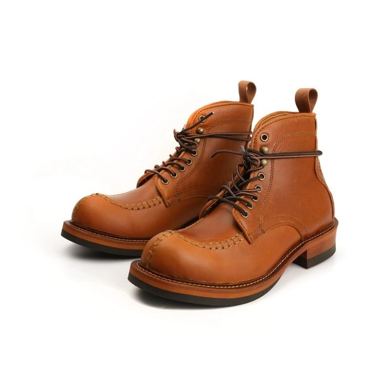 قميص مصنوع يدويا جودة الأدوات خمر الرجال أحذية الخريف الشتاء فستان حقيقي أحذية من الجلد منصة حذاء من الجلد دراجة نارية الأحذية