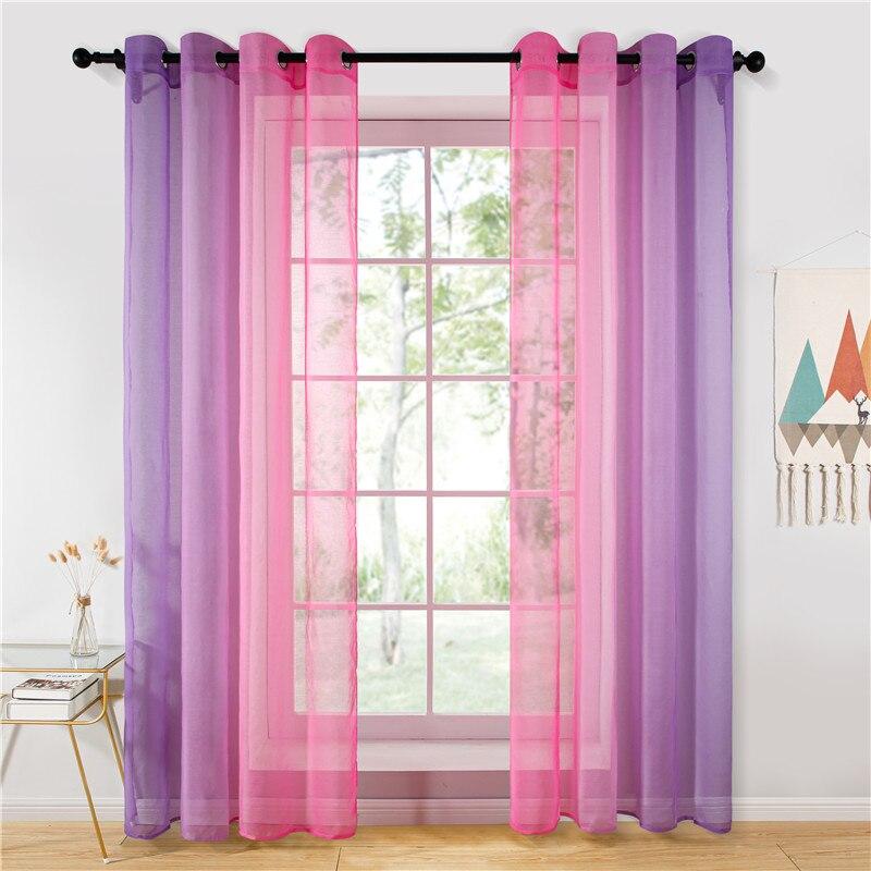 Rideaux transparents violet rose dégradé Tulle rideaux pour salon chambre cuisine maison hôtel café décor bleu Orange couleur