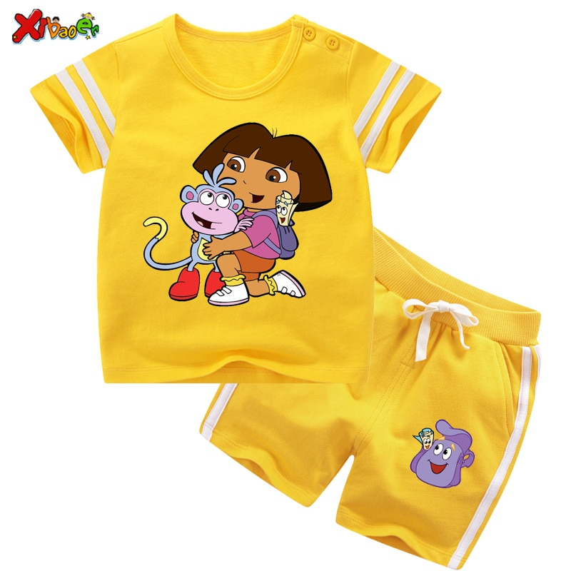 Комплект одежды для маленьких девочек, летние комплекты одежды для девочек, детская одежда, модные Мультяшные футболки и шорты для девочек, ...
